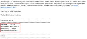 Kết quả kiểm tra port 25 khi gửi mail
